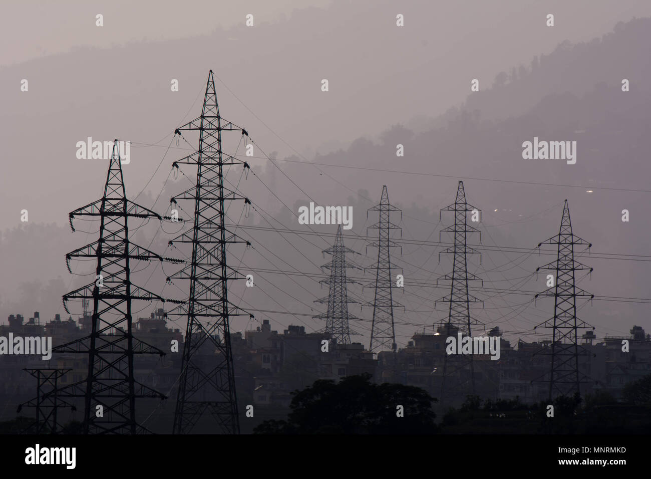 Power Electric Hydro Power Electric Pole And Wire Stock Photo 185532577 Alamy