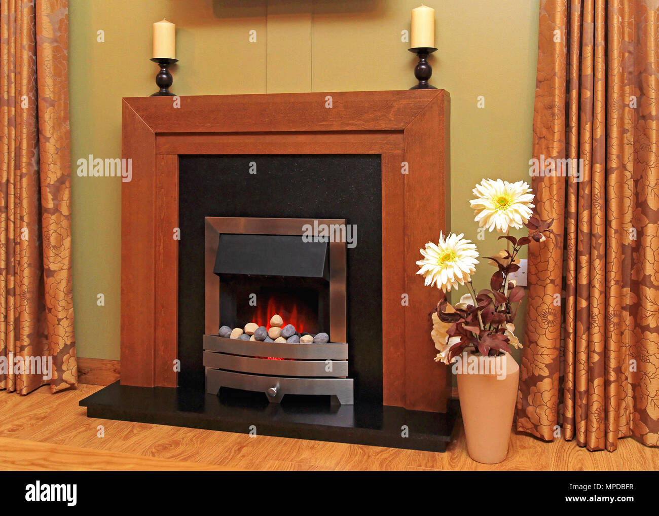 Fire Stones For Fireplace Artificial Fire In Electric Fireplace With Lava Stones Stock Photo