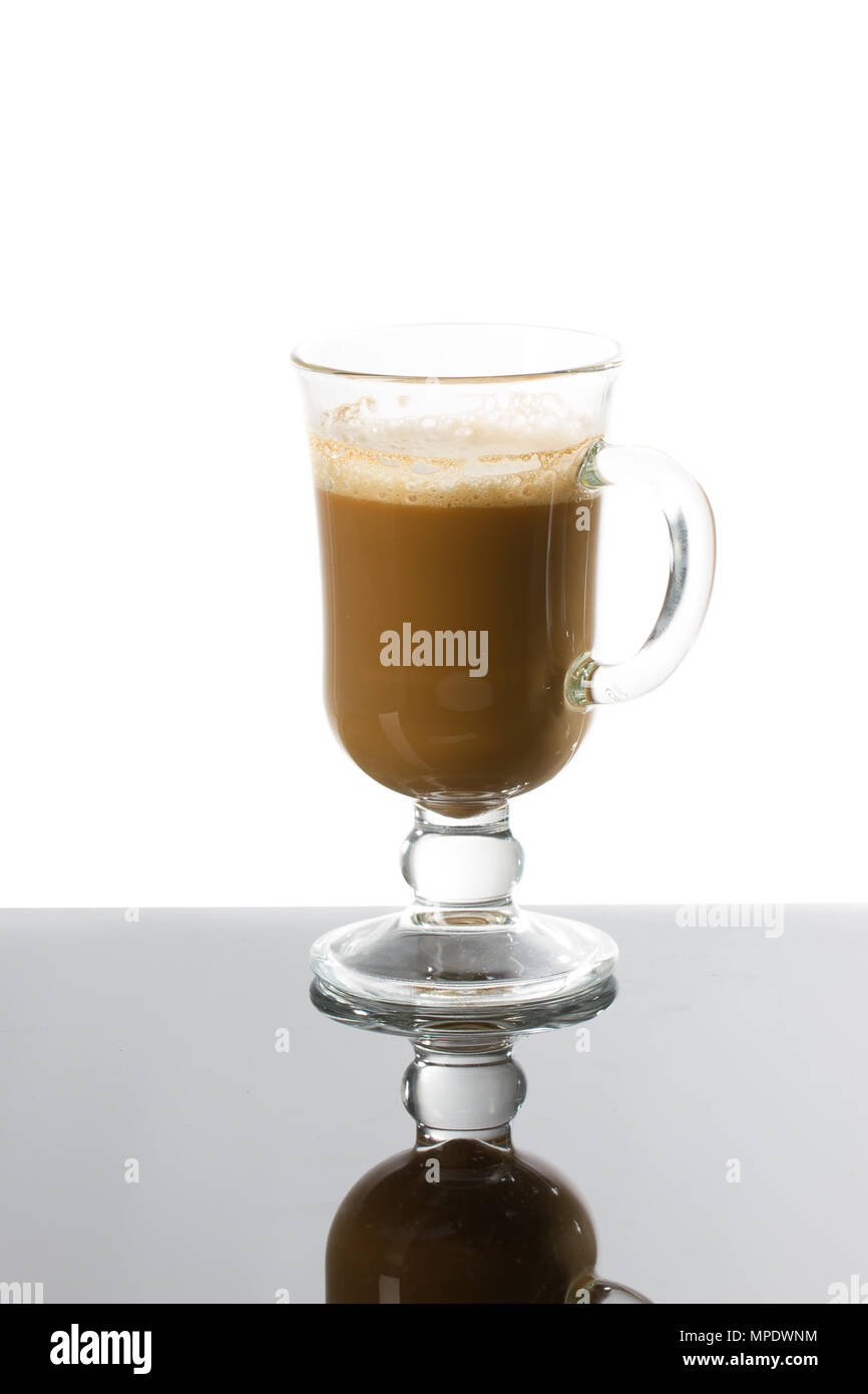 Caffe Latte Latte Coffee Or Caffe Latte In Tall Latte Glasses With Table