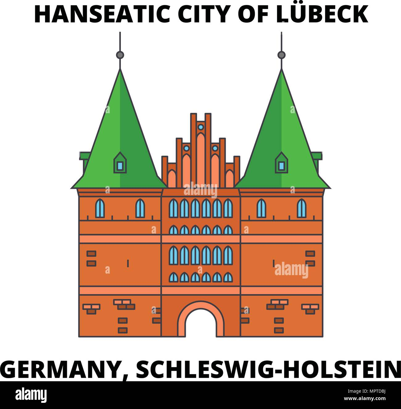 Lübeck Card Germany Schleswig Holstein Hanseatic City Of Lubeck Line Icon