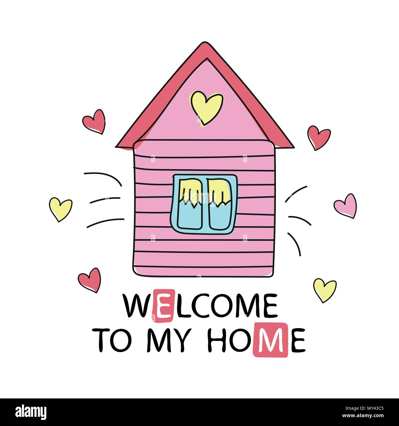 Cartoon Style Design Element Welcome To My Home Vector Illustration Stock Vector Image Art Alamy