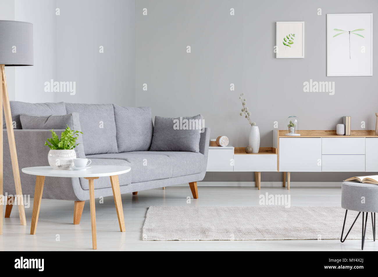Sofa Next Grey Table Next To Grey Sofa In Scandi Living Room Interior With