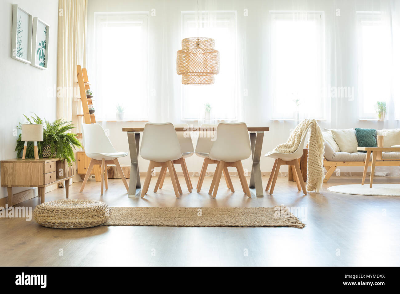 Dining Room Carpet Pouf And Brown Carpet In Spacious Bright Dining Room With Lamp