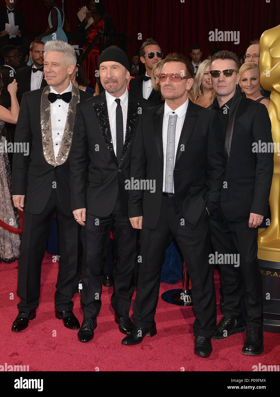 Carpet U2 Bono And U2 Band 593 Arriving At The 86th Oscars 2014 At The Dolby