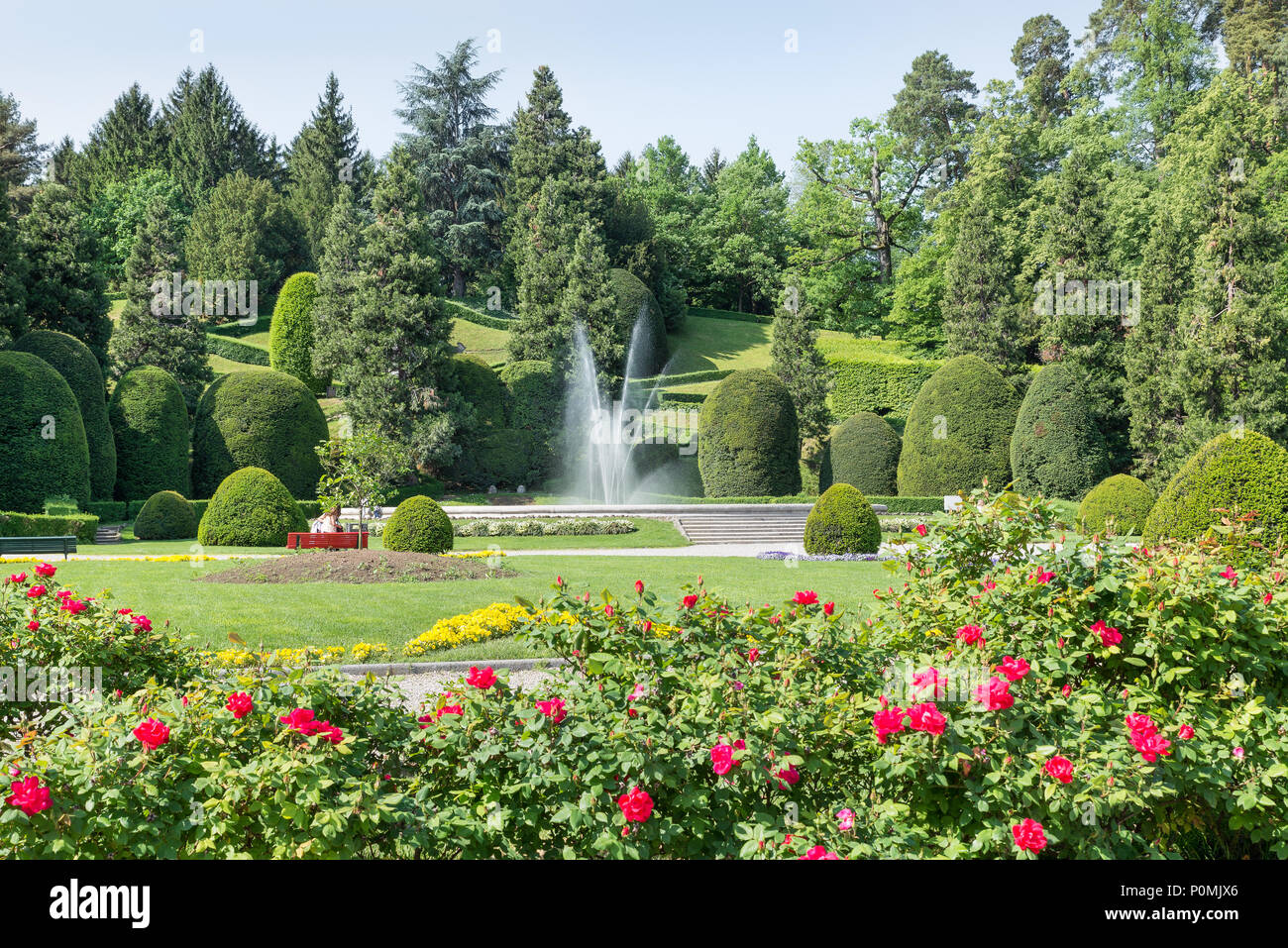 Typical And Famous Symmetrical Italian Garden Giardino All Italiana Or Formal Garden Giardino Formale In The City Center Of Varese Italy Stock Photo Alamy