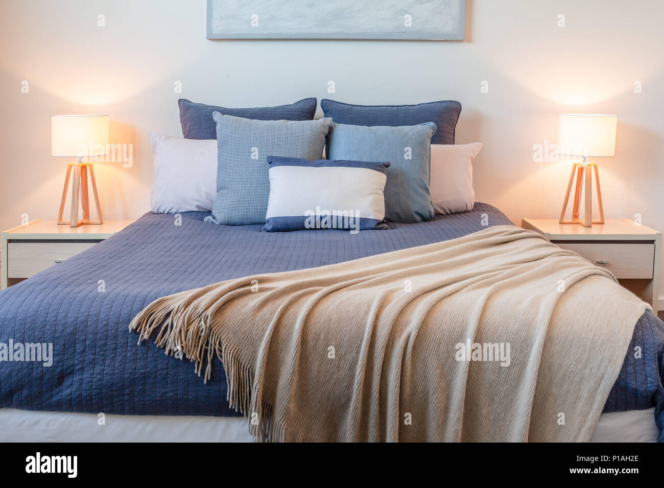 Beautiful Lamps For Bedroom Beautiful Arrangement Of Pillows On Bed In A Bedroom With Bedside