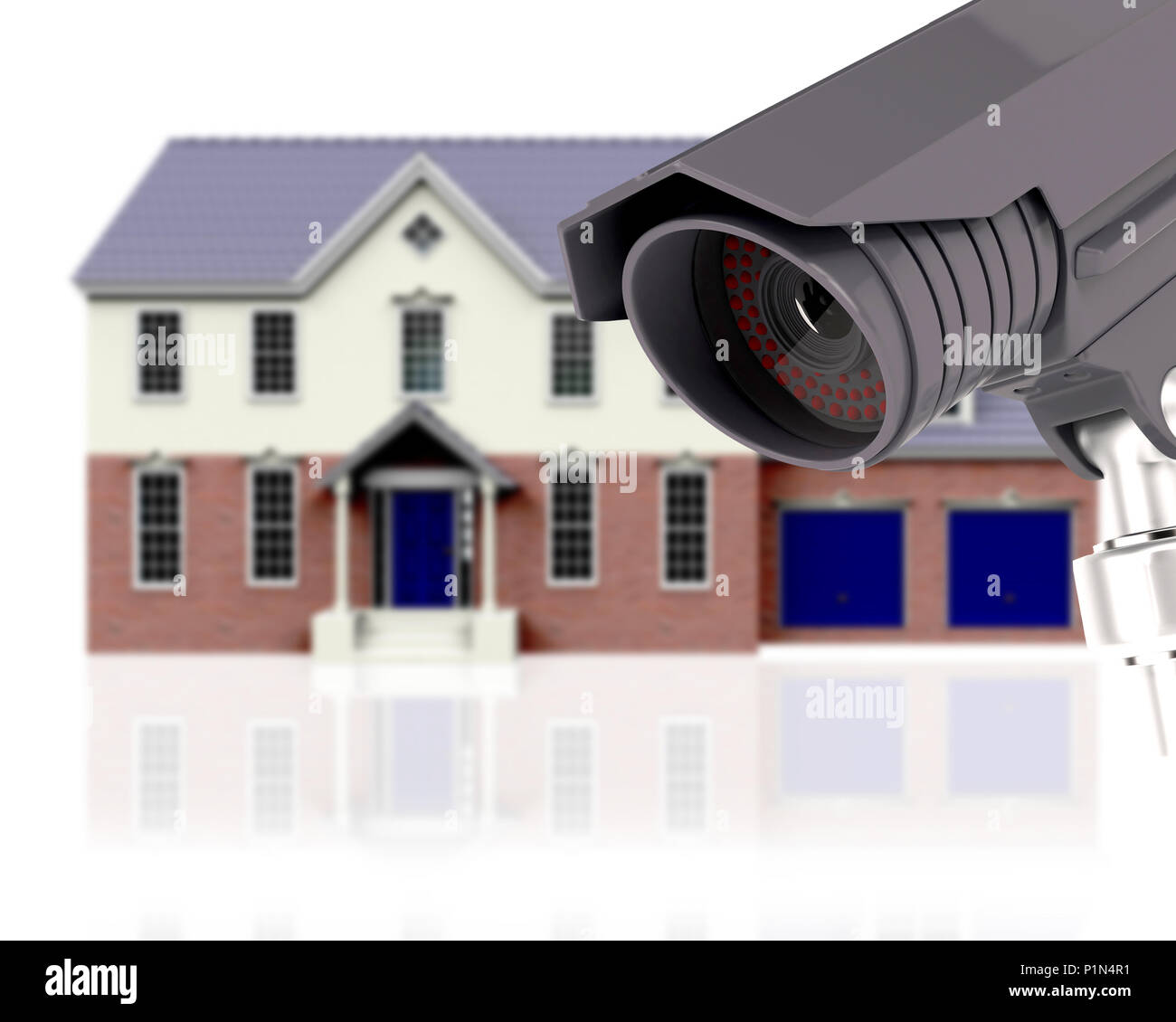 Cctv Home 3d Render Of A Defocussed House With Cctv Home Security Concept