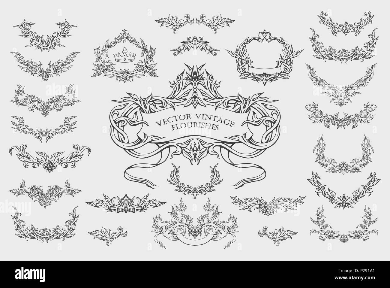Calligraphy Fonts Victorian Vector Set Of Design Elements Frames And Page Decoration In