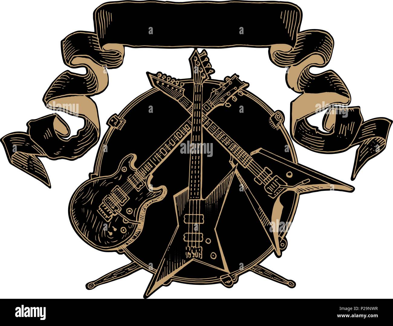 On Heavy Metal Heavy Metal Coat Of Arms Electric Guitar Bass Drums Line Art On