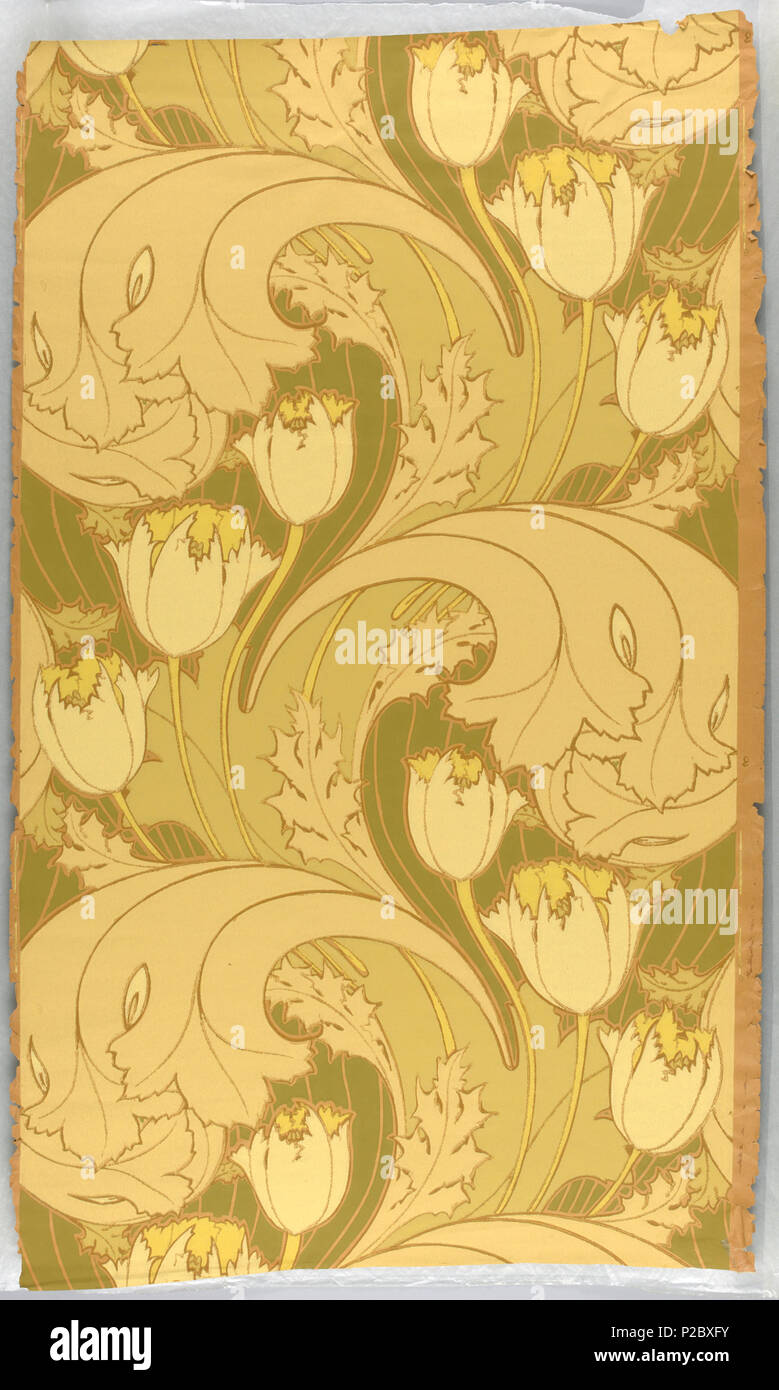 Art Nouveau Yellow English Sidewall Usa 1895 English Art Nouveau Design With