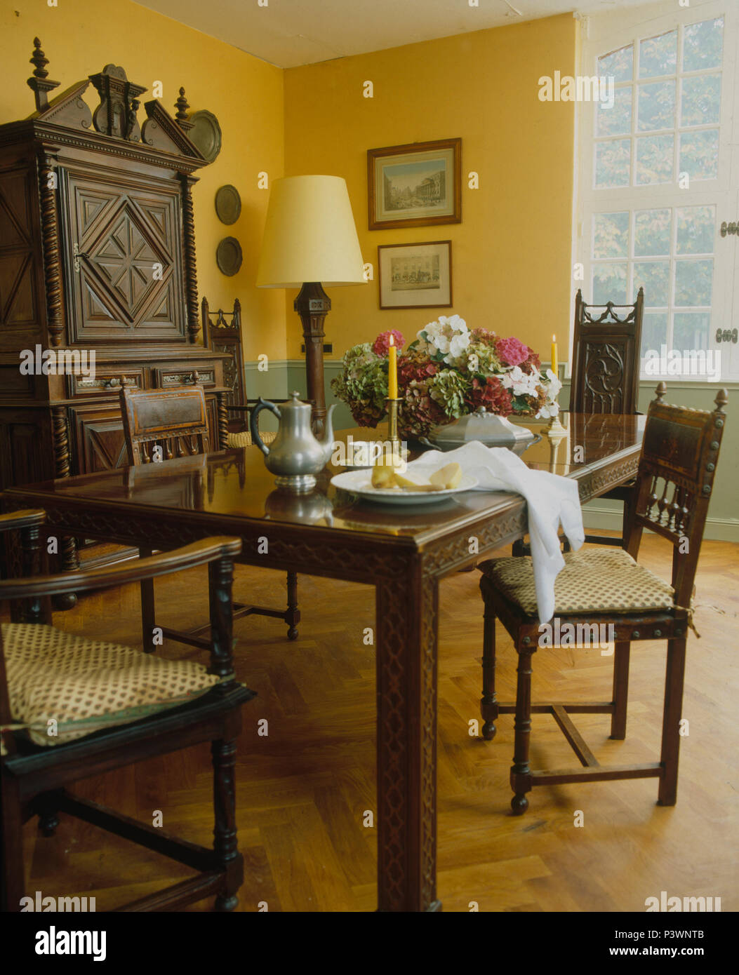 Dark Wood Furniture Parquet Flooring And Dark Wood Furniture In Yellow French Country