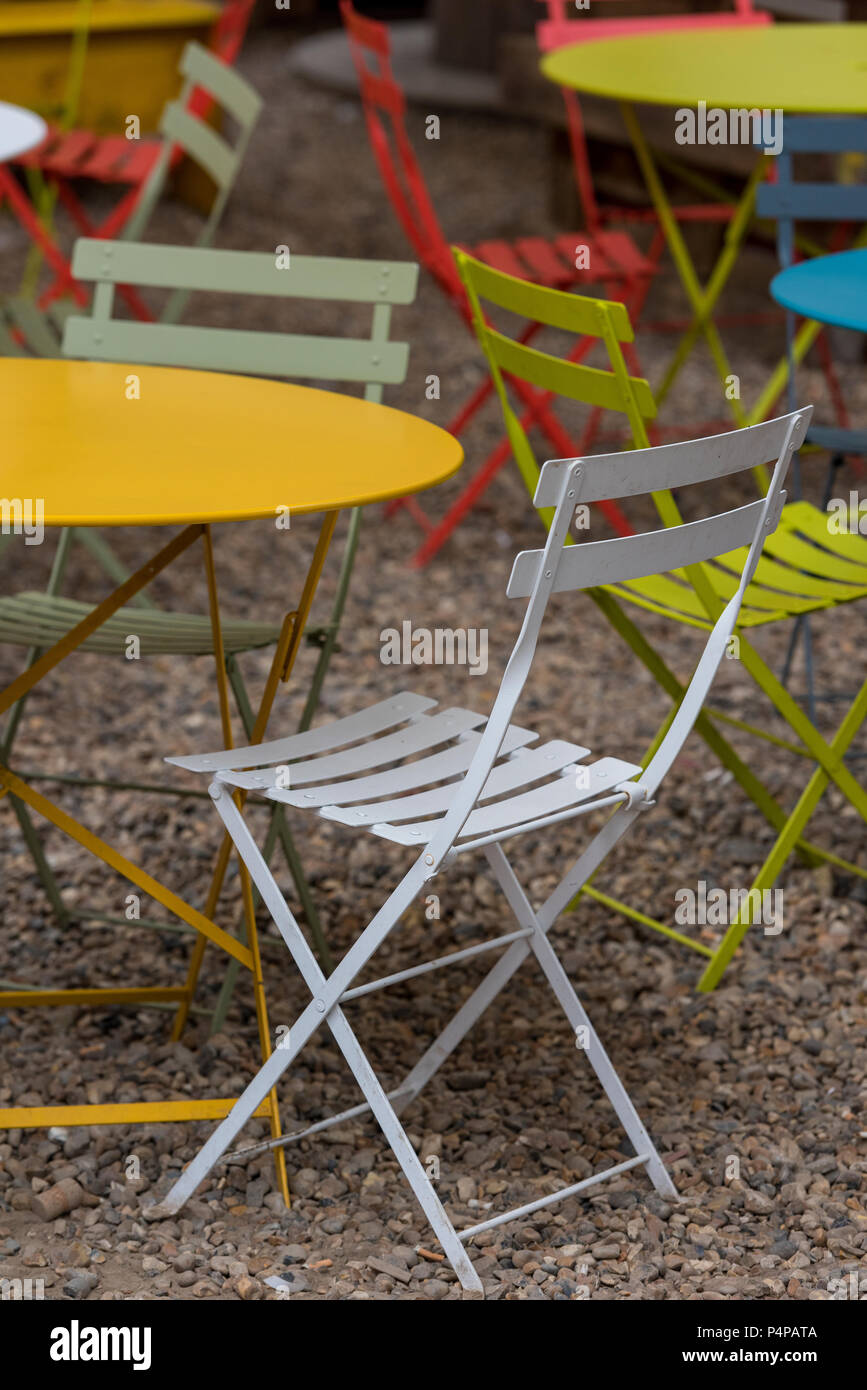 Brightly Coloured Shabby Chic Garden Furniture Stock Photo Alamy