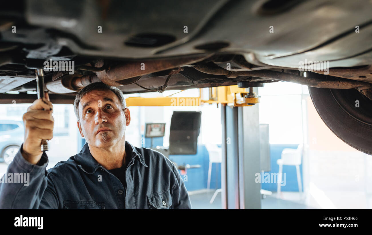 Repair Fixing Experienced Car Mechanic Repairing A Lifted Car In Garage Auto
