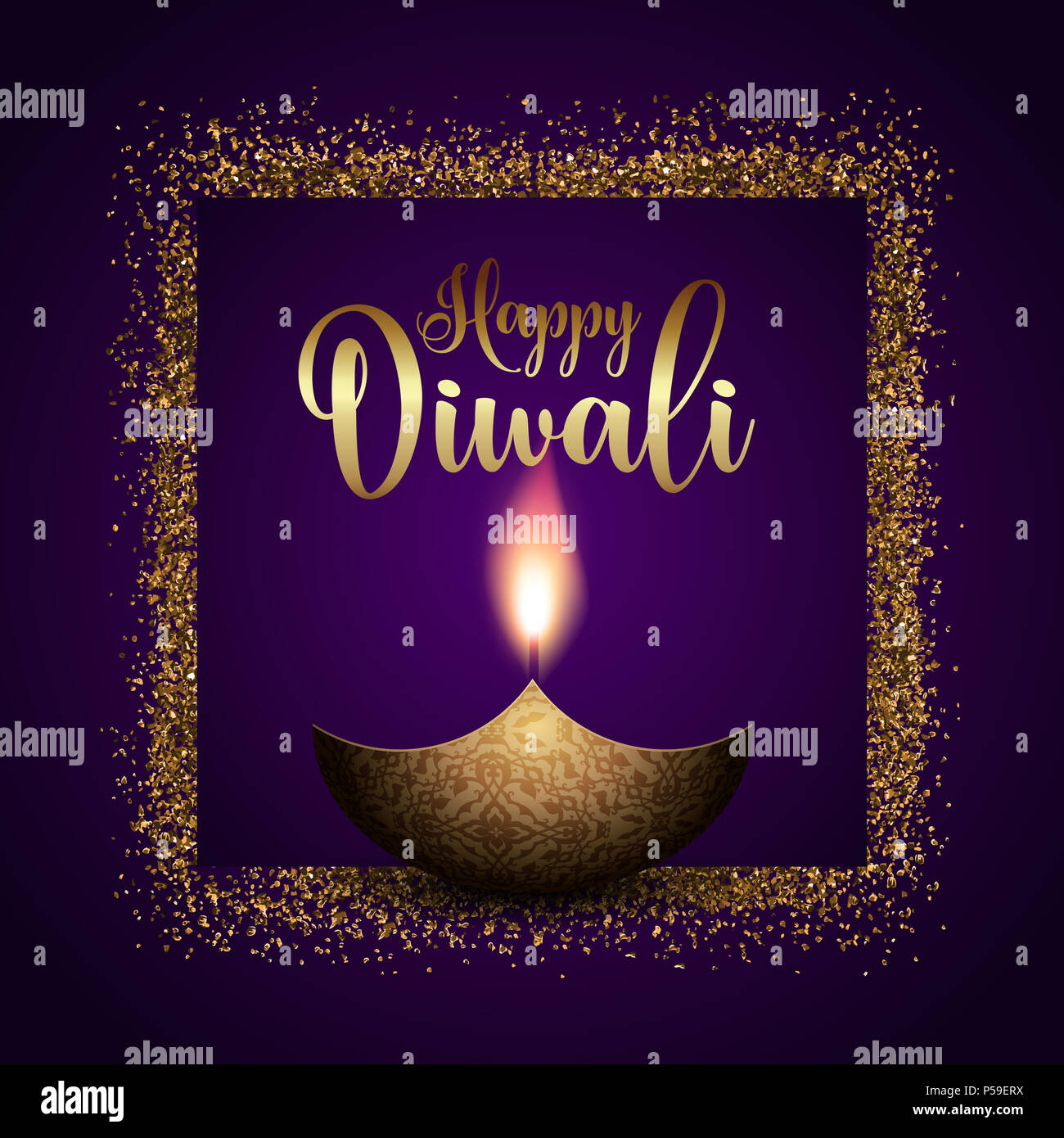 Happy Diwali Background With Gold Glitter Frame Stock Photo Alamy