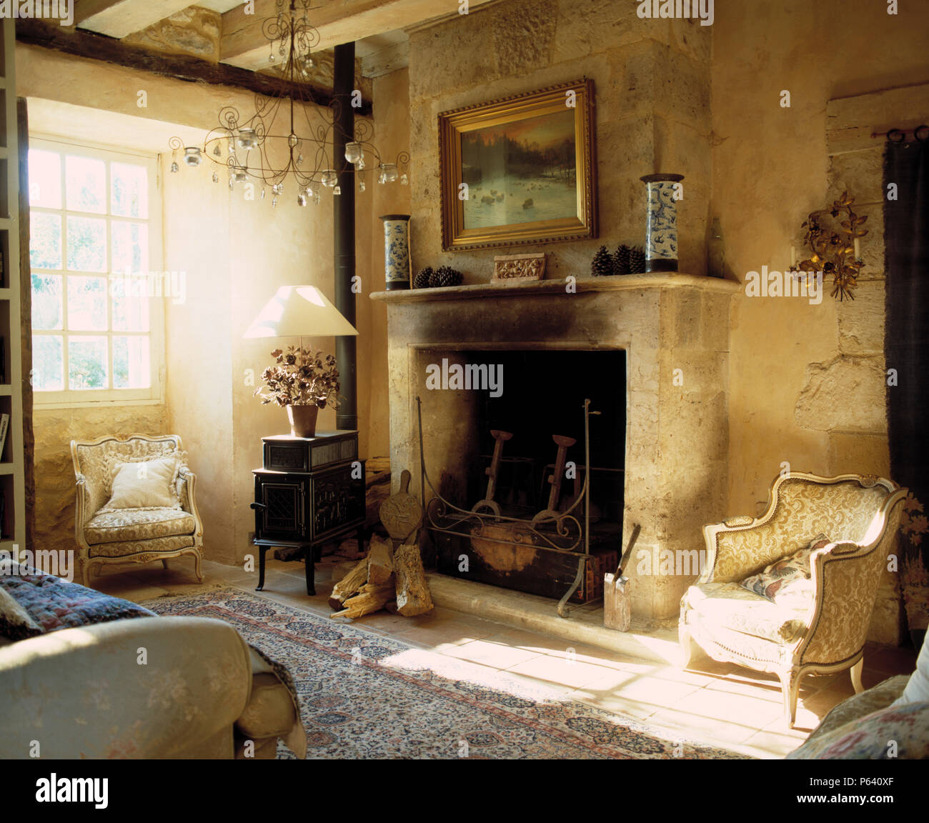Living Room In French Picture Above Large Stone Fireplace In French Country Living Room