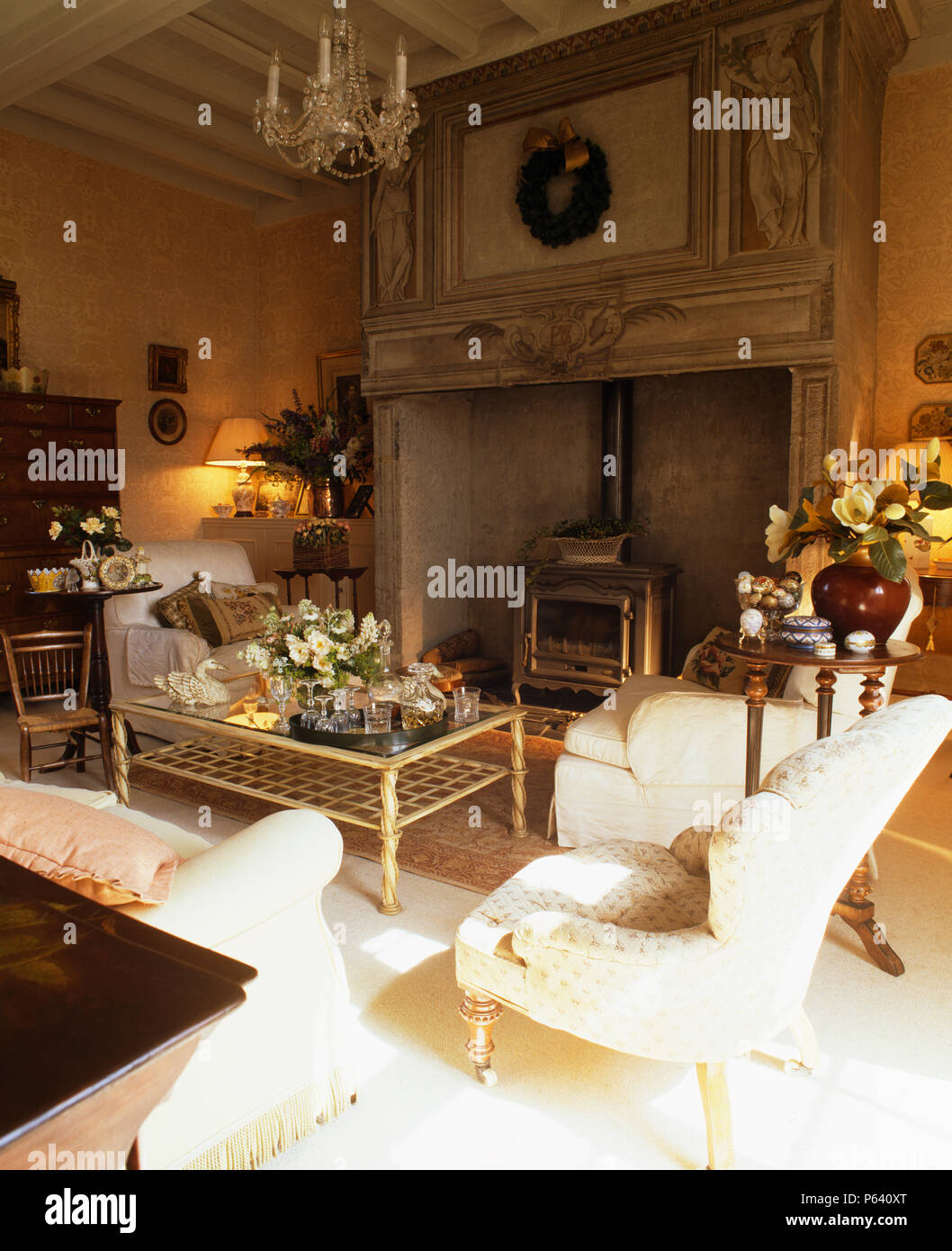 French Country Fireplace Cream Armchair And Sofas In French Country Living Room With Wood