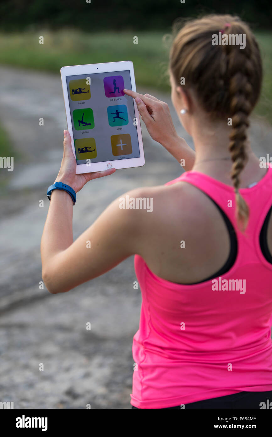 Running Jogging App Young Woman Doing Stretching Exercises Running Jogging