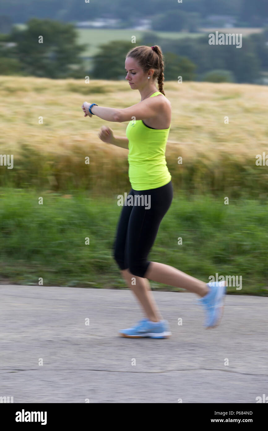 Jogging Run Time Young Woman Jogging Running Checking Her Vital Signs On A