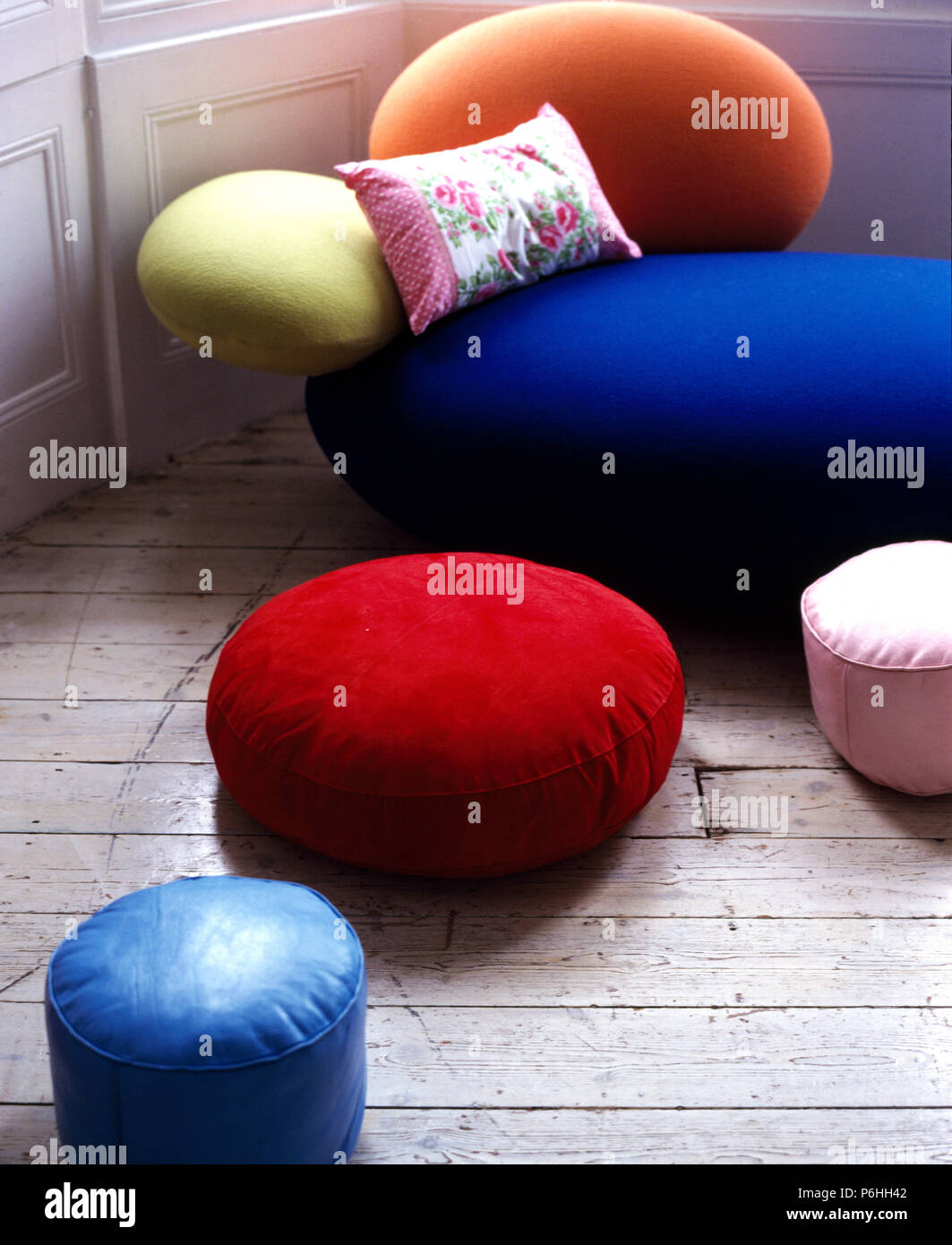 Retro Inflatable Sofa Colourful Circular Velvet And Leather Floor Cushions On Wooden