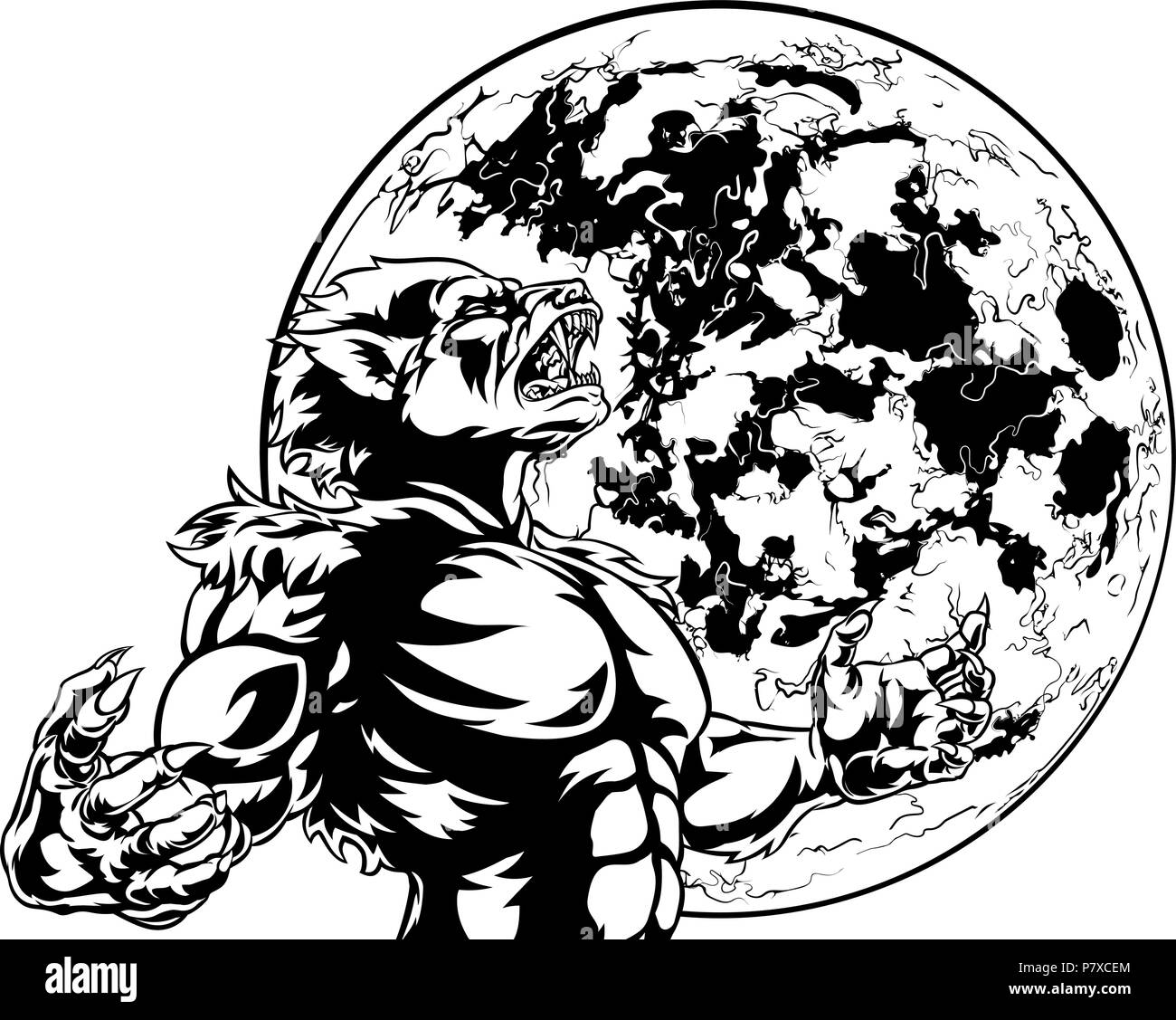 Full Moon Drawing Black And White Full Moon Werewolf Scary Monster Stock Vector Art Illustration