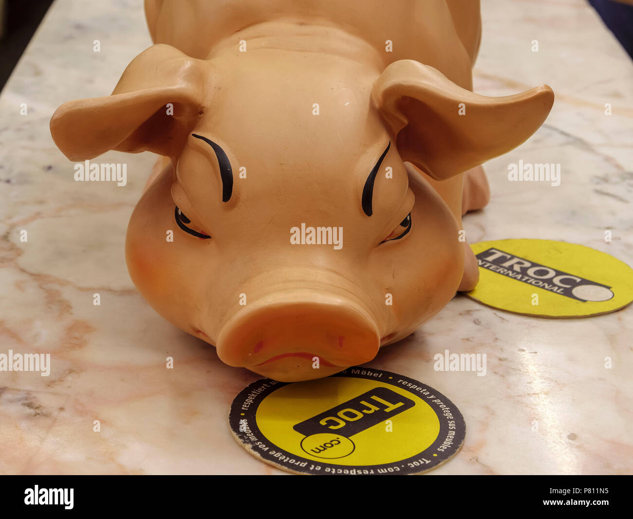 Plastic Pig Troc Second Hand Shop 83 Rue Hollerich Luxembourg Luxembourg City Europe Stock Photo Alamy