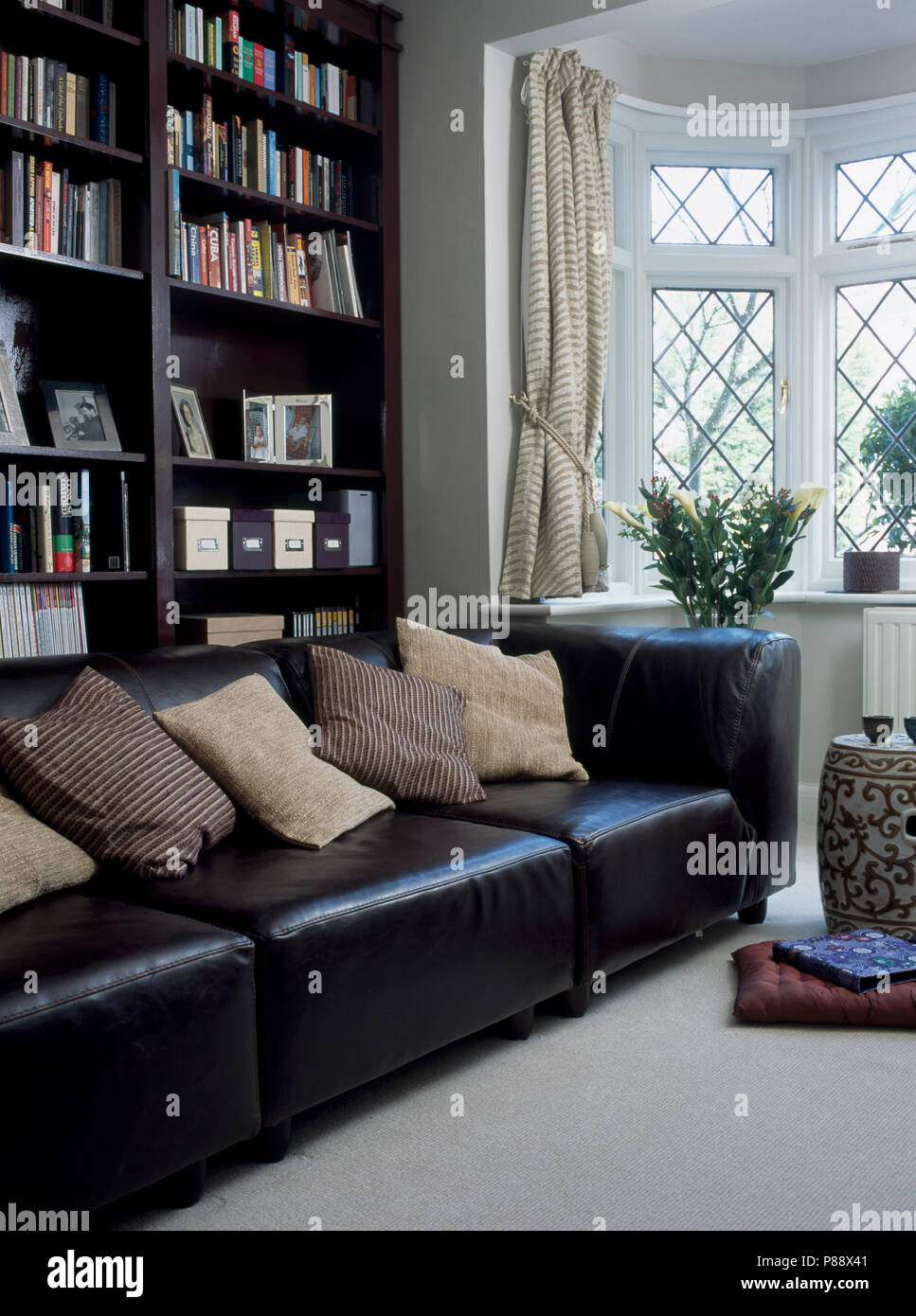Black Leather Sofa With Cream Cushions In Front Of Black Bookshelves In Modern Livingroom Stock Photo Alamy