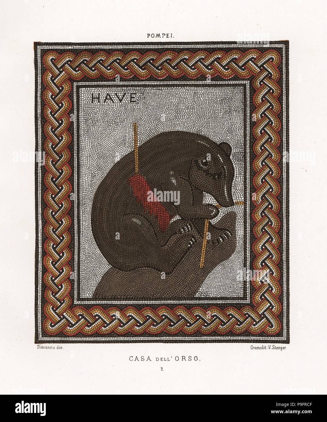 Mosaik Peinture Mosaic Of A Bear Wounded With A Spear From The Casa Dell Orso