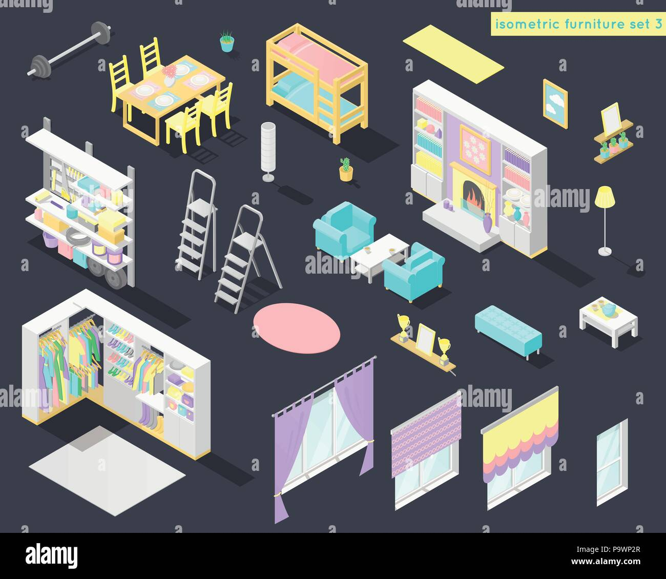 Home Interior Kids Vector Big Set Of Low Poly Isometric Furniture And Decoration For