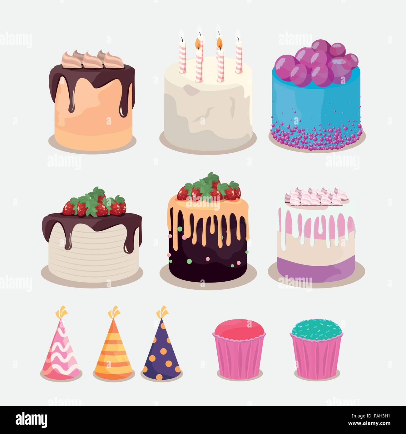 Décoration De Cupcake Happy Birthday Cake Cupcake Party Hats Decoration Vector