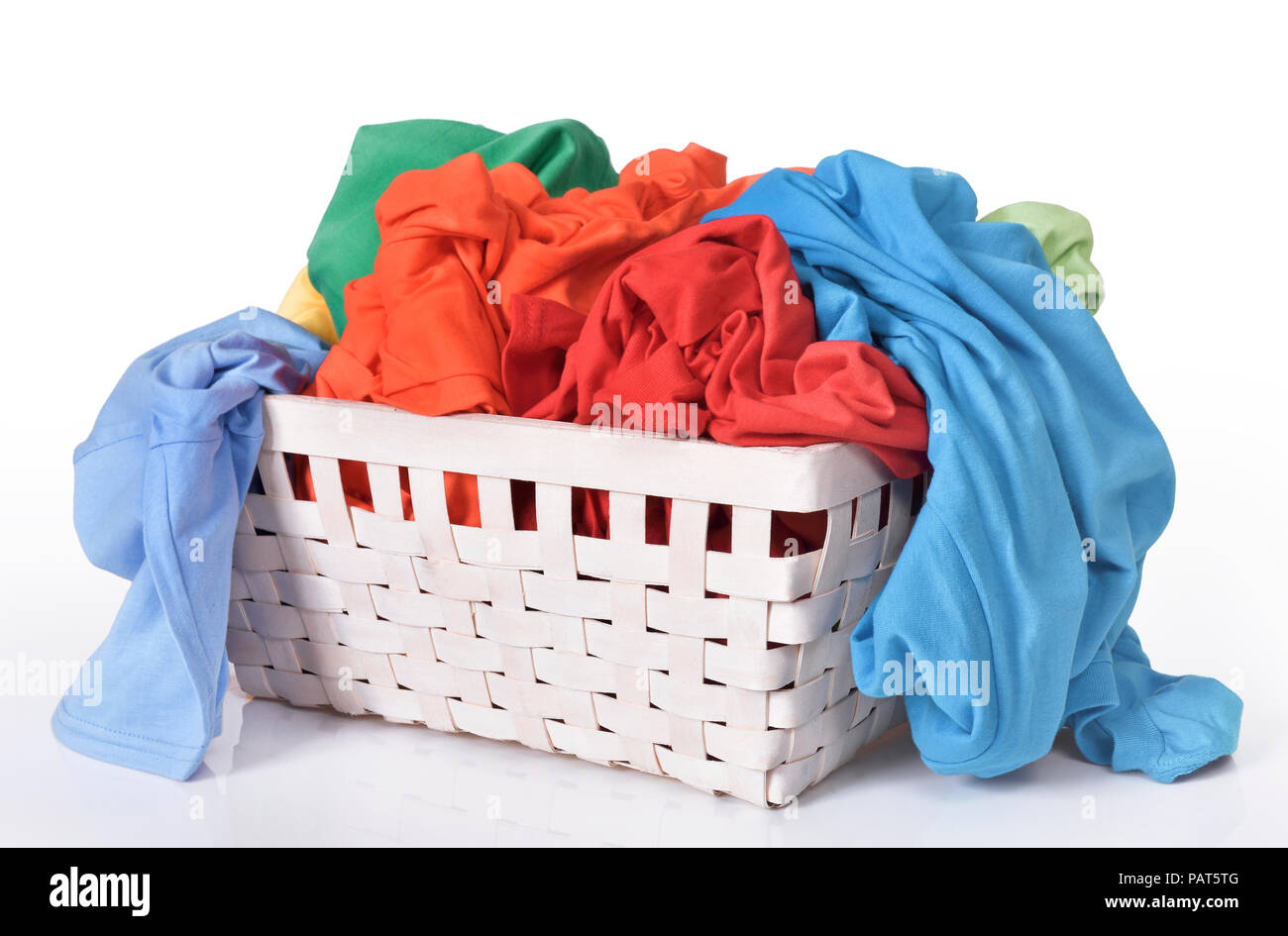 Dirty Laundry Baskets Colorful Dirty Clothes In Laundry Basket Isolated Over White