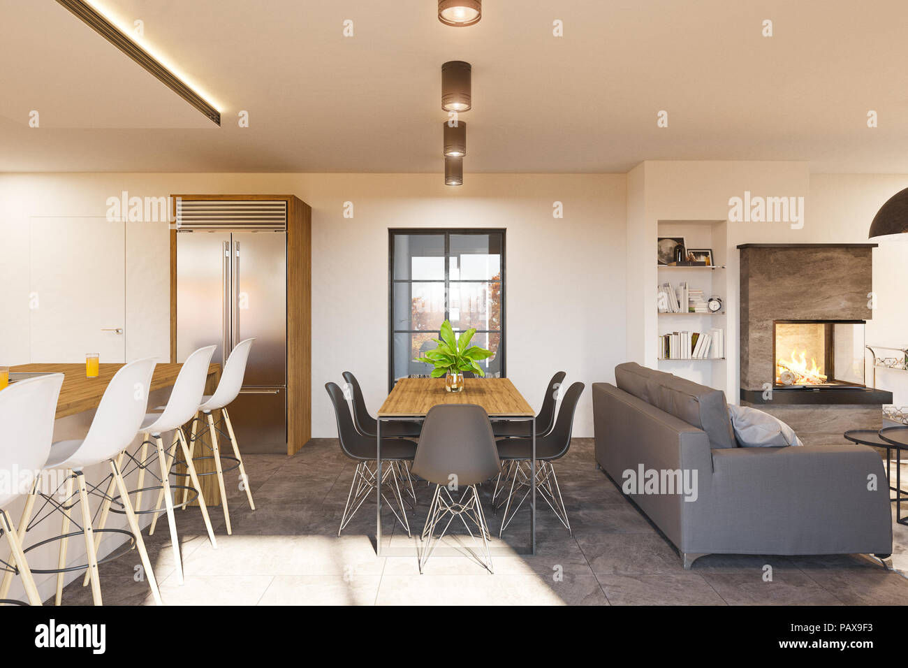 Modern Living Room With Kitchen Interior Design 3d Render Modern Living Room And Kitchen Interior Design With