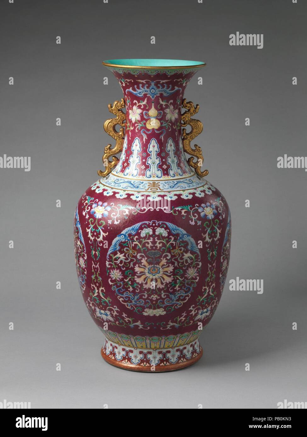 10 In Cm Vase With Floral Medallions Culture China Dimensions H 29 1
