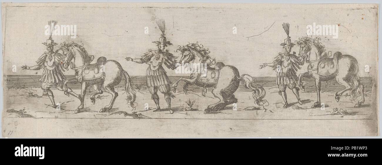 Procession, with three men leading three horses Artist Anonymous