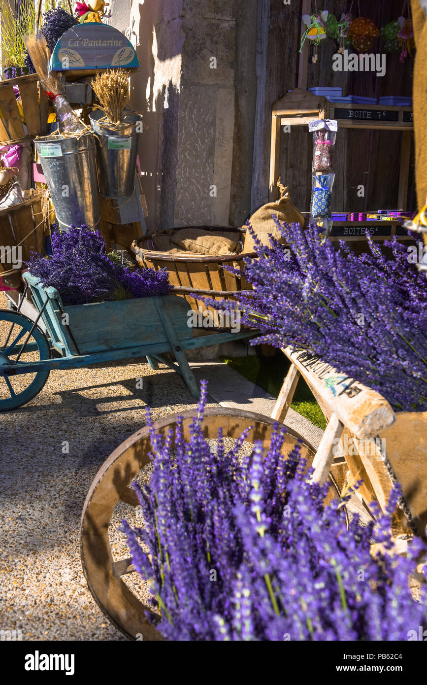 Provence Decoration Typical Decoration With Lavender And Wooden Handcart Provence