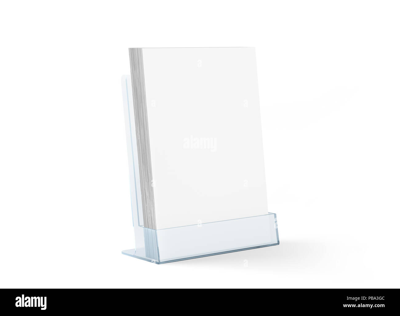 Table Transparente Plexiglass Blank Flyer Mockup Glass Plastic Transparent Holder Isolated 3d