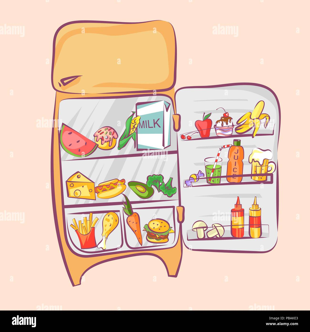 Retro Kühlschrank Orange Retro Refrigerator With Different Food Comic Cartoon Style Vector