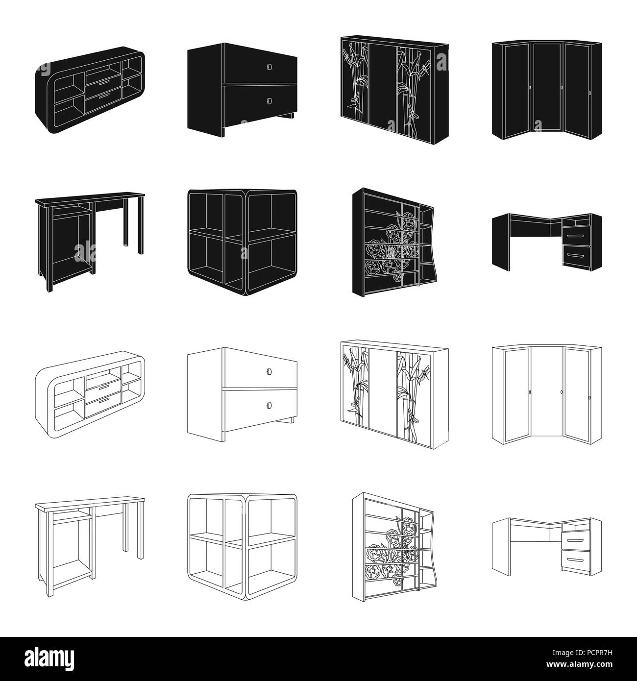 Dressing Table Corner Shelves Computer Desk Wardrobe With Glass Bedroom Furniture Set Collection Icons In Black Outline Style Vector Symbol Stock Stock Vector Image Art Alamy