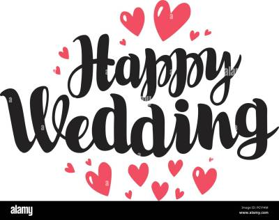 Happy wedding, lettering. Marriage, marry concept ...