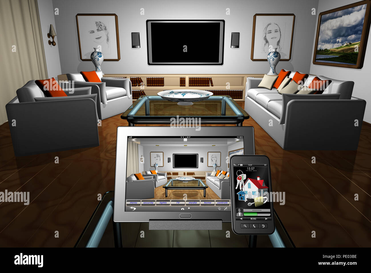 Automation Control 3d Illustration Living Room House Home Automation Control