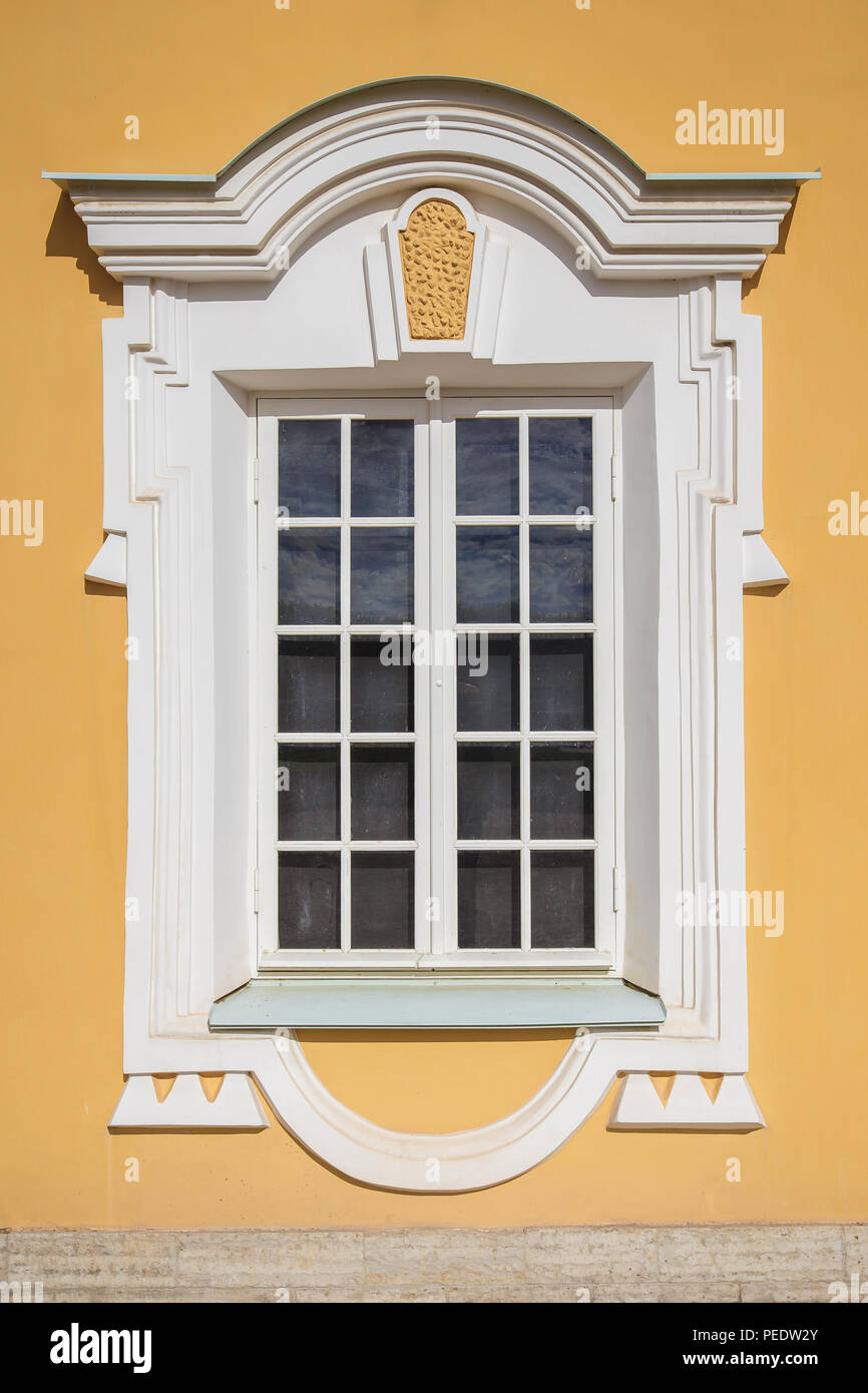 Art Nouveau Yellow Beautiful Old Window In The Art Nouveau Style On The Yellow Wall