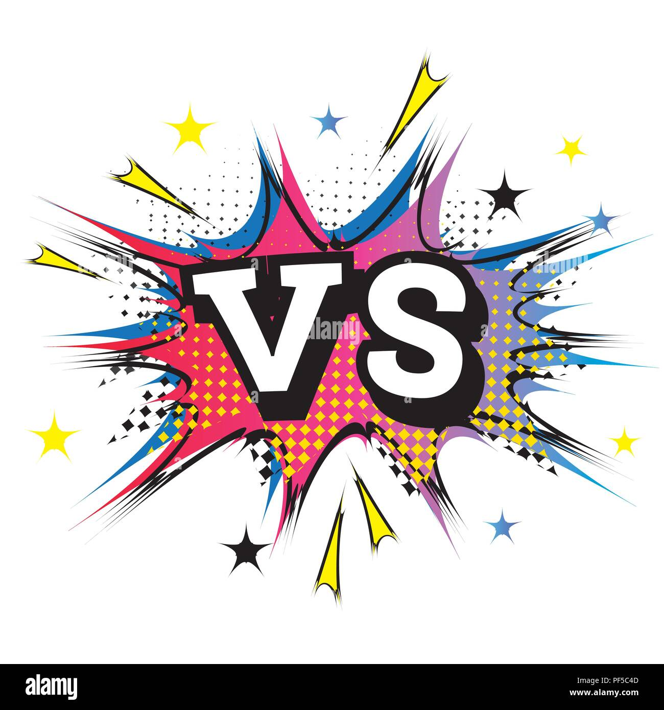 / Vs Versus Letters Or Vs Logo Comic Text In Pop Art Style
