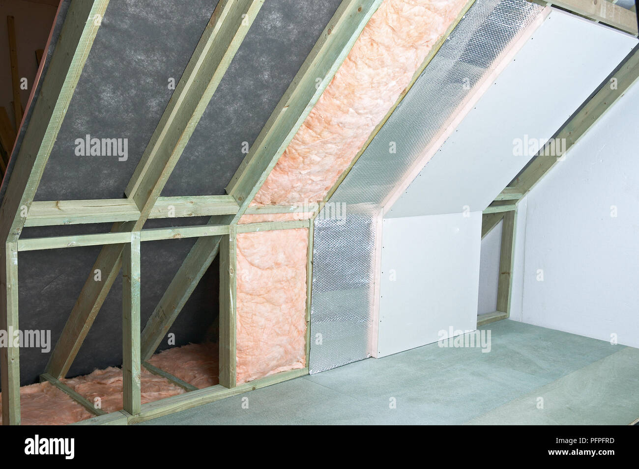Foil Insulation Blanket Blanket Insulation Framefoil And Thermal Check Plasterboard Stock