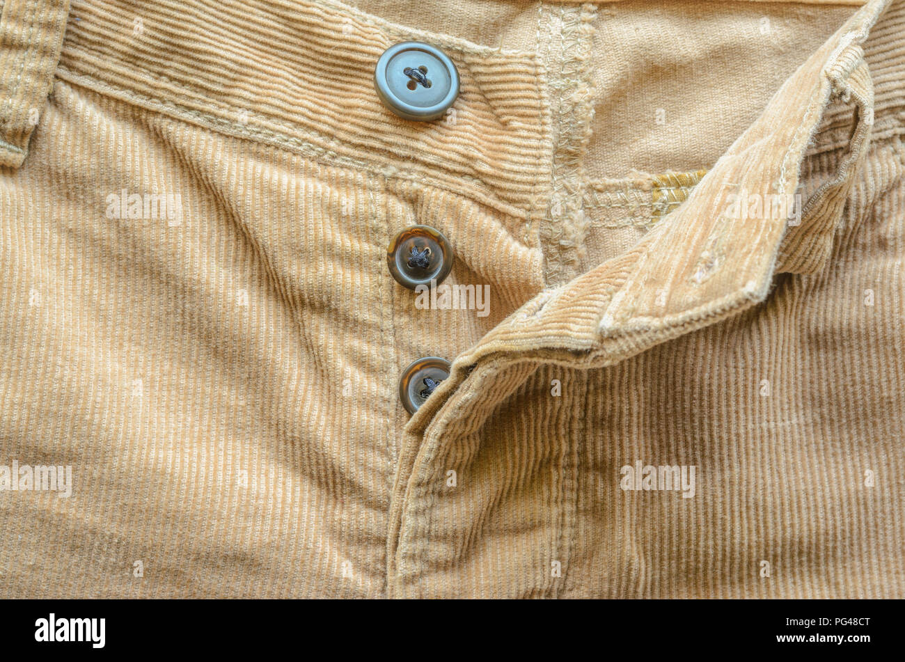 Textile Fabric Of Corduroy Pants As Background Pocket In Pants Closeup Texture Of Beige Velvet Clothes Stock Photo Alamy