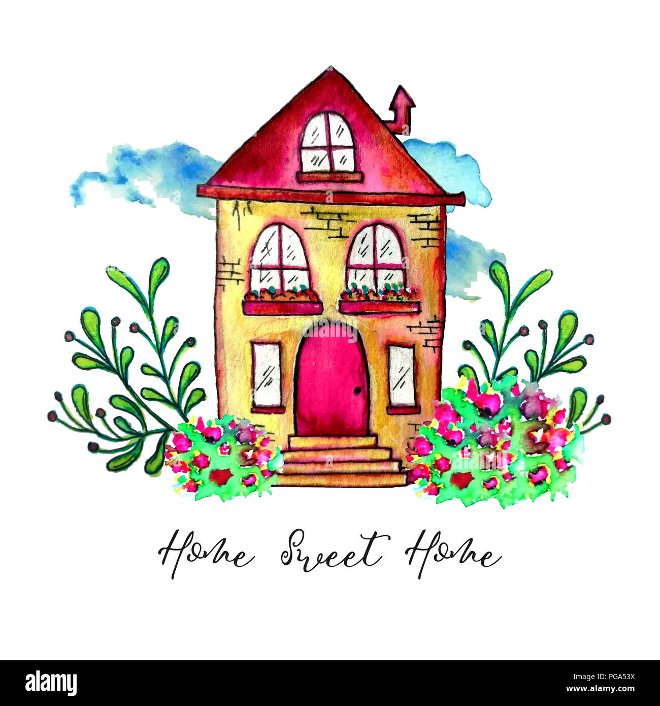 White Home Sweet Home Label Cute Watercolor Old Building With Branches And