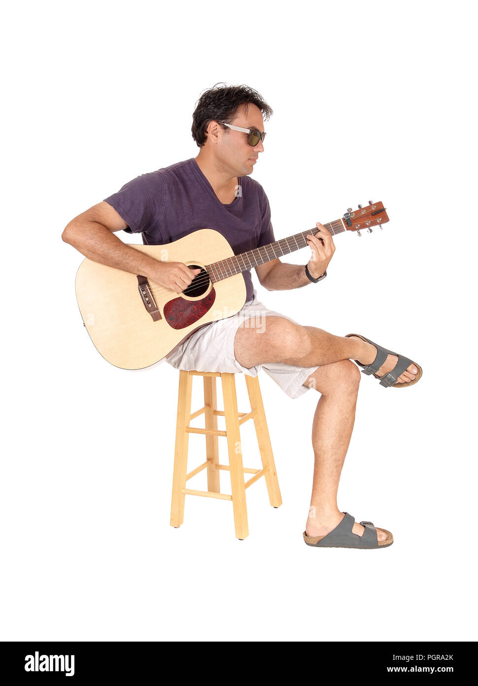 Guitar Stool Australia Acoustic Guitar Player Sitting Man Cut Out Stock Images Pictures