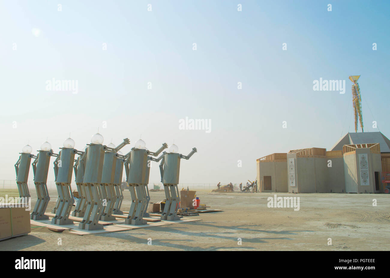 A Robot Sculpture Art Installation At The Annual Burning Man Counter Culture Festival In The Desert August 24 2018 Near Black Rock Nevada Each Year 80 000 Of People Set Up A Temporary