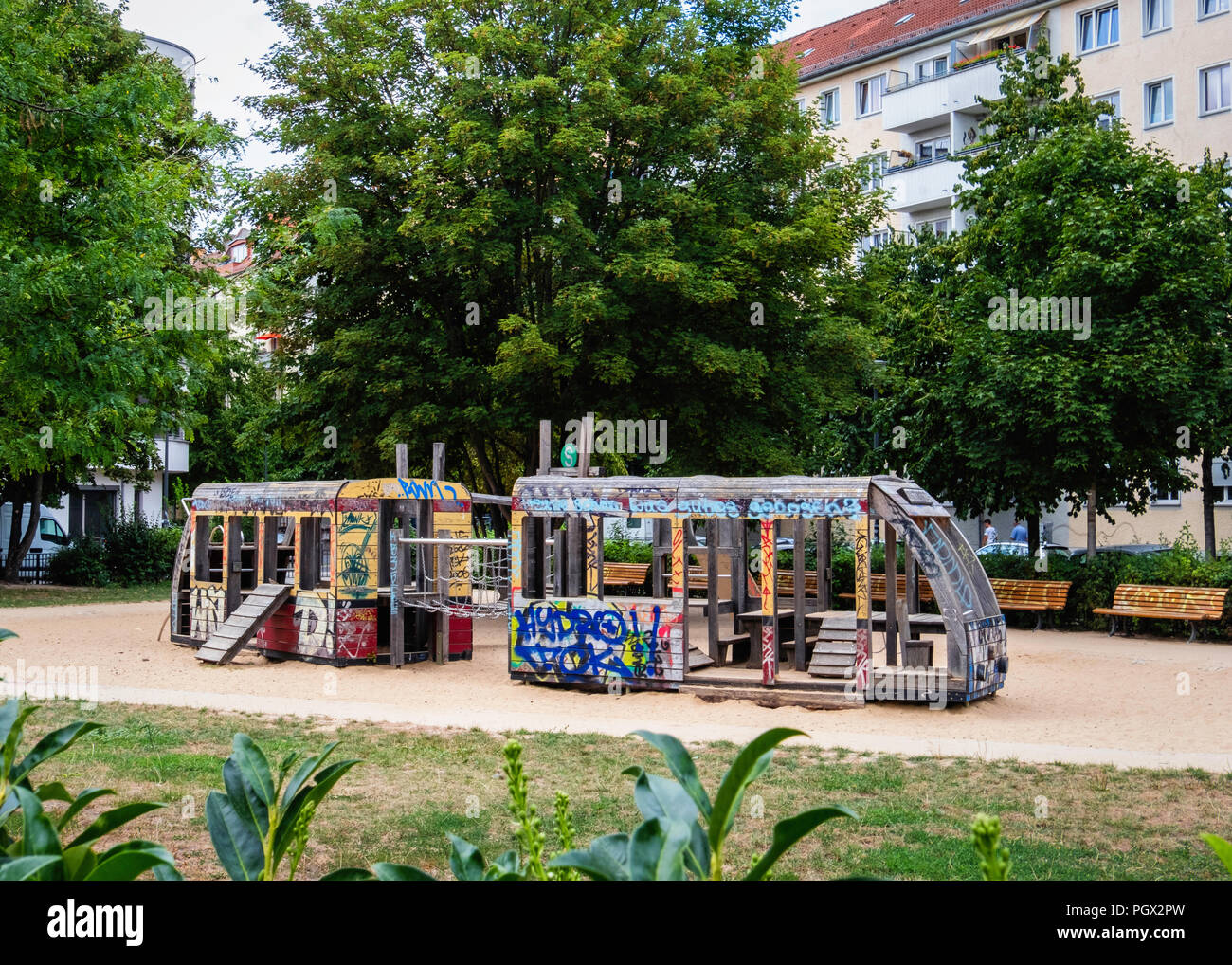Spielplatz Berlin Westend Childrens Playground Germany German Stock Photos Childrens