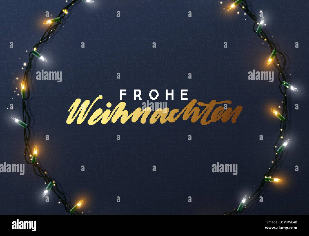 Design Weihnachten Glowing Christmas Lights Wreath For Xmas Holiday Greeting Cards