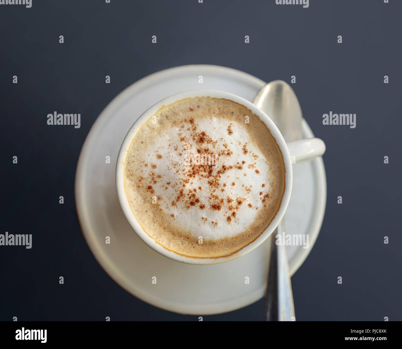Caffe Latte Caffe Latte Coffee Drink In Cup And Saucer Show From Above Stock