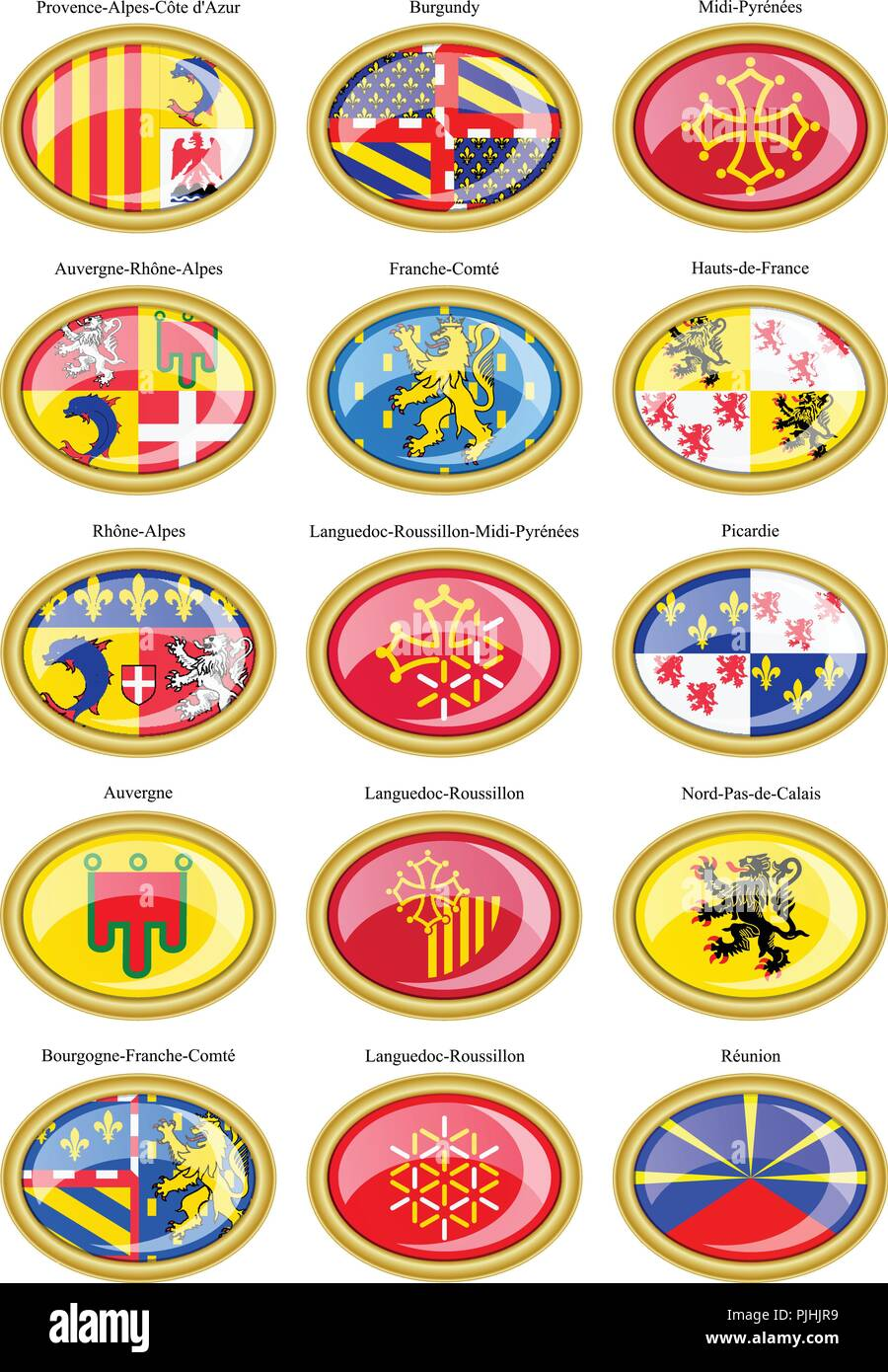 Regions De France Set Of Icons Regions Of France Flags Stock Vector Art